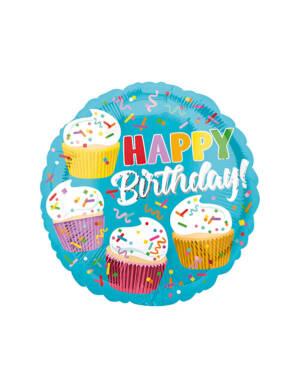 "Folieballong: ""Happy Birthday"" & Muffins - 45cm"