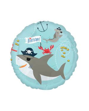"""Folieballong: """"Birthday"""" - Pirat / Sjørøver - Hai - 43cm"""