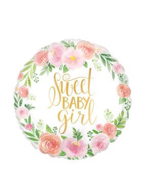 """Folieballong: """"Sweet Baby Girl"""" - Blomster - 45cm"""