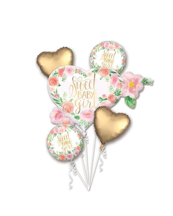 """Ballongbukett: """"Sweet Baby Girl"""" - Hjerte & Blomster"""