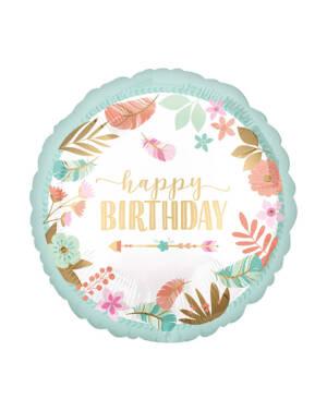 "Folieballong: ""Happy Birthday"" - Blomster - 43cm"