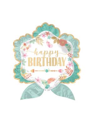 "Folieballong: ""Happy Birthday"" - Blomster - 63 x 68cm"
