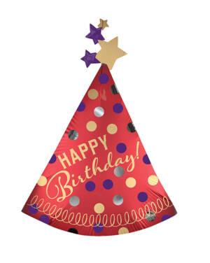 """Folieballong: """"Happy Birthday"""" med stjerner - Rød - Festhatt - 68 x 91cm"""