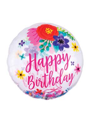 "Folieballong: ""Happy Birthday"" - Blomster - 71 x 71cm"