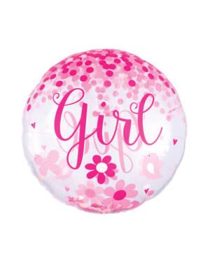 "Konfettiballong / Folieballong: ""Girl"" - Rosa Konfetti - 71 x 71cm"