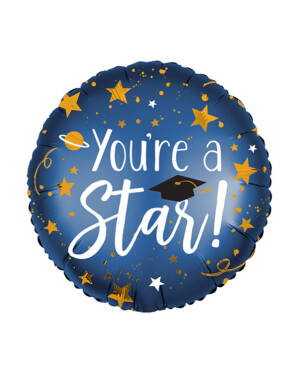 "Folieballong: ""You're a star!"" - Stjerner - 43cm"