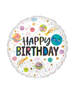 "Folieballong: ""Happy Birthday"" - Planeter - 43cm"