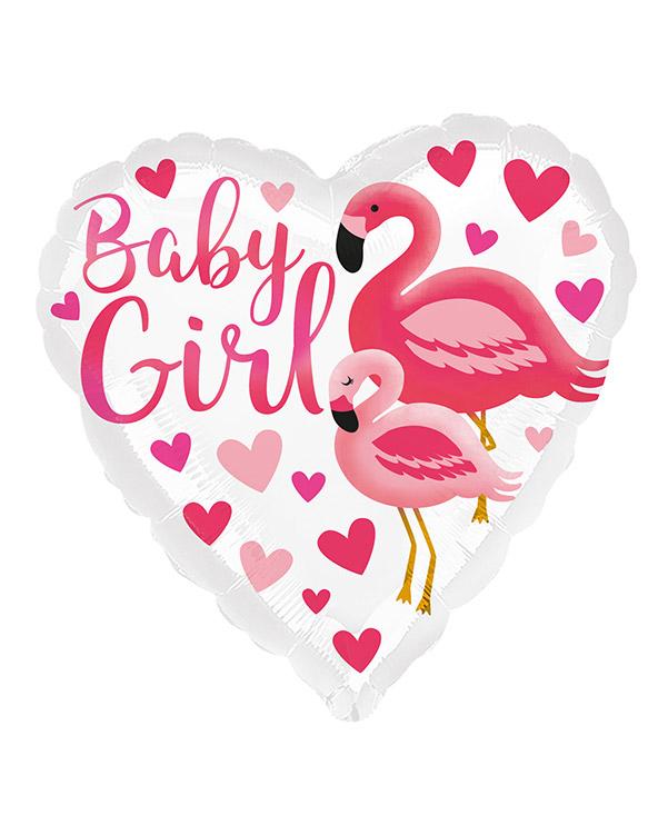 """Folieballong: Hjerte - """"Baby Girl"""" - Hjerter & Flamingo - 43cm"""