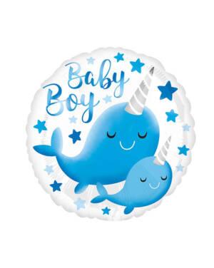 "Folieballong: ""Baby Boy"" - Hval - Enhjørning - Narhval & Stjerner - 43cm"