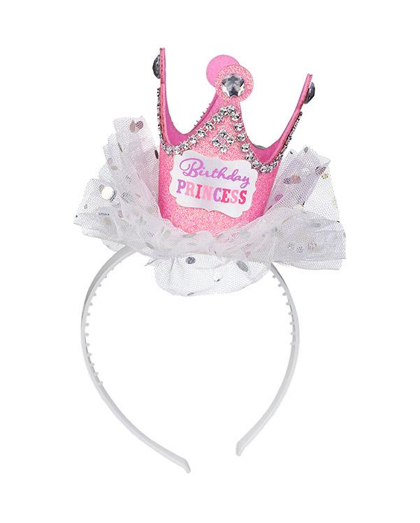 """Hårbøyle med festhatt: """"Birthday Princess"""" - 21,4 x 11,4cm"""