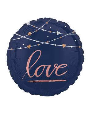 "Folieballong: Sirkel ""love"" - Marineblå - 60 x 60cm"