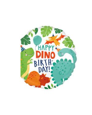 "Folieballong: ""Happy Dino Birthday"" - Dinosaurer - 45cm"