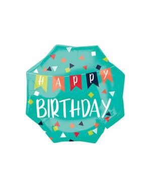 "Folieballong: ""Happy Birthday"" - Konfetti - Oktogon - Grønn - 55cm"