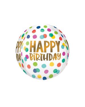 "Orbz / Speilballong: ""Happy Birthday"" - Prikker - 38 x 40cm"