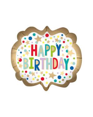 "Folieballong: ""Happy Birthday"" - Prikker & Stjerner - 63 x 55cm"