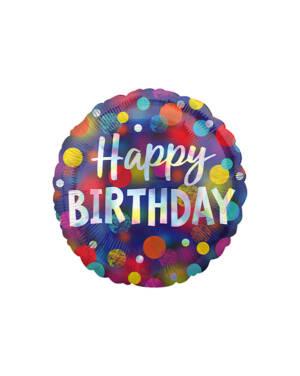 """Folieballong: """"Happy Birthday"""" - Iriserende Prikker - 43cm"""