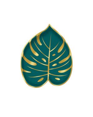 Tallerkener (8stk): Formet som Palmeblad - Grønn & Gull - 18,2 x 22,2cm