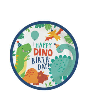 "Tallerkener (8stk): ""Happy Dino Birthday"" - Dinosaurer - 22,8cm"