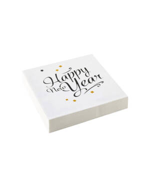 "Servietter (20stk): ""Happy New Year"" - 16,5cm"
