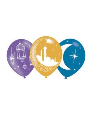 Lateksballonger (6stk): Eid, Måne & Moske - 27,5cm
