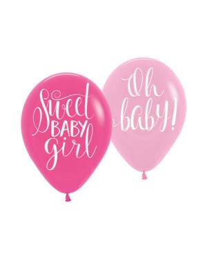 """Lateksballonger (6stk): """"Sweet baby girl"""" & """"Oh baby"""" - 27,5cm"""