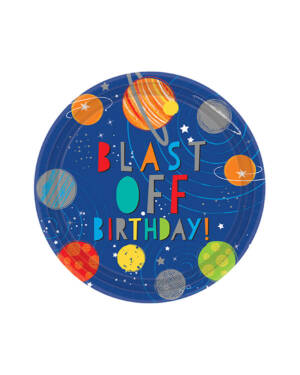 "Tallerkener (8stk): ""Blast Off Birthday!"" - Planeter - Fargerike Metallic - 22,8cm"