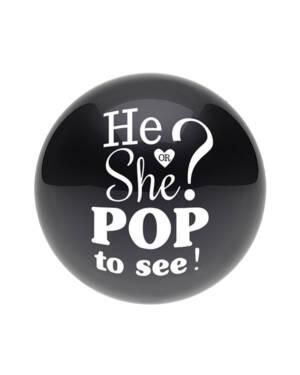 """Konfettiballong / Lateksballong / Gender Reveal Ballong: """"He / She Pop To See"""" med Blå / Rosa Konfetti - 60cm"""