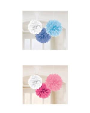 Pompoms (3stk): Flere farger - 40,6cm