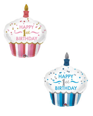 "Folieballong: ""Happy 1st Birthday"" - Muffins - 73 x 91cm"