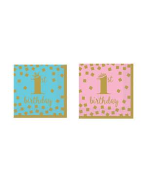 """Servietter (16stk): """"1st Birthday"""" - 25cm"""