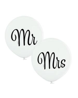 "Lateksballong: ""Mr"" / ""Mrs"" - 60cm - Hvit (Pastel)"