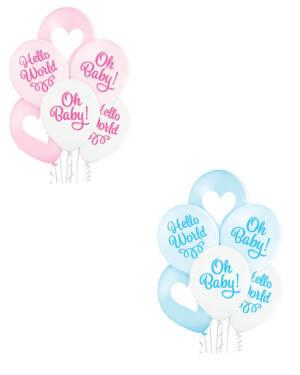 """Lateksballonger (6stk): """"Oh Baby"""" & """"Hello World"""" - Flere farger - 30cm"""