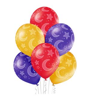 Lateksballonger (6stk): Måner & Stjerner - 30cm
