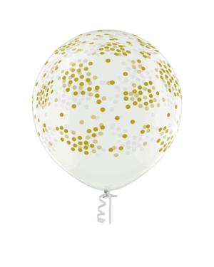 Lateksballonger (2stk): Konfettiballonger - 60cm - (Crystal)