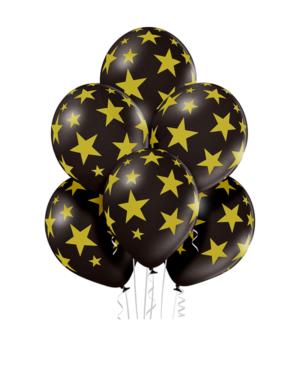 Lateksballonger (50stk): Stjerner - 30cm - Svart (Pastel)