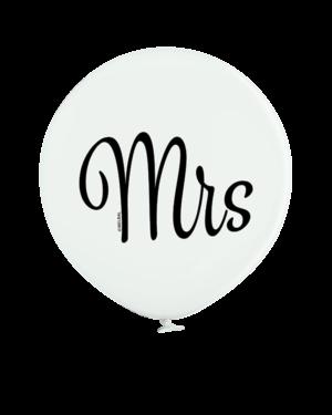 """Lateksballonger (2stk): """"Mrs"""" - 60cm - Hvit (Pastel)"""