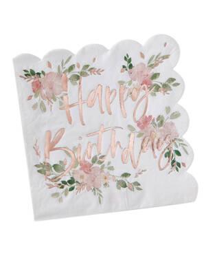"Servietter (16stk): ""Happy Birthday"" - 16,5cm"