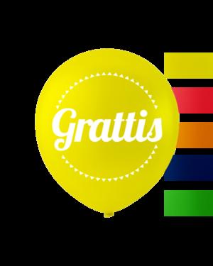 """Lakteksballonger (10stk): """"Grattis"""" - Assortert - 25cm"""