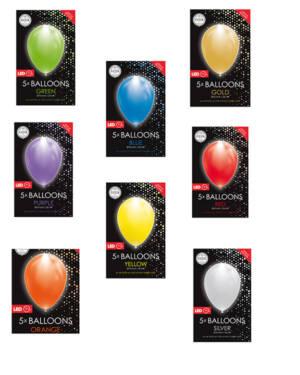 Lateksballonger (5stk): LED/LYS Ballonger - 30cm