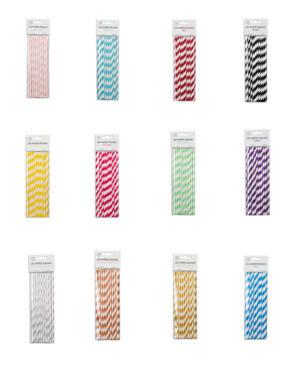 Sugerør (20stk): Papir - Stripete