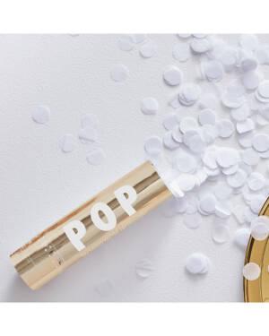 Konfettikanon: Gull med hvit konfetti - 15cm