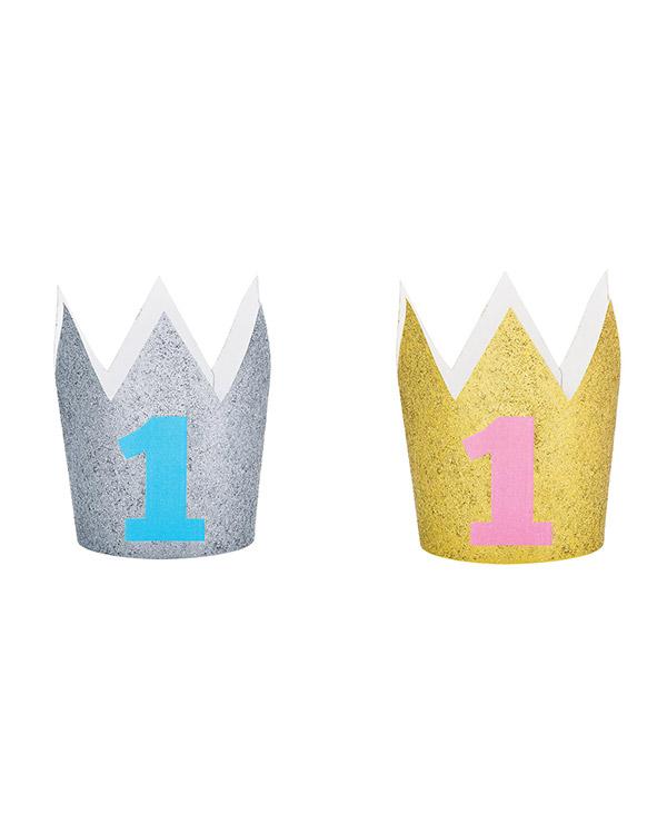 Krone: Minikrone - 1 år Glitter - 10cm