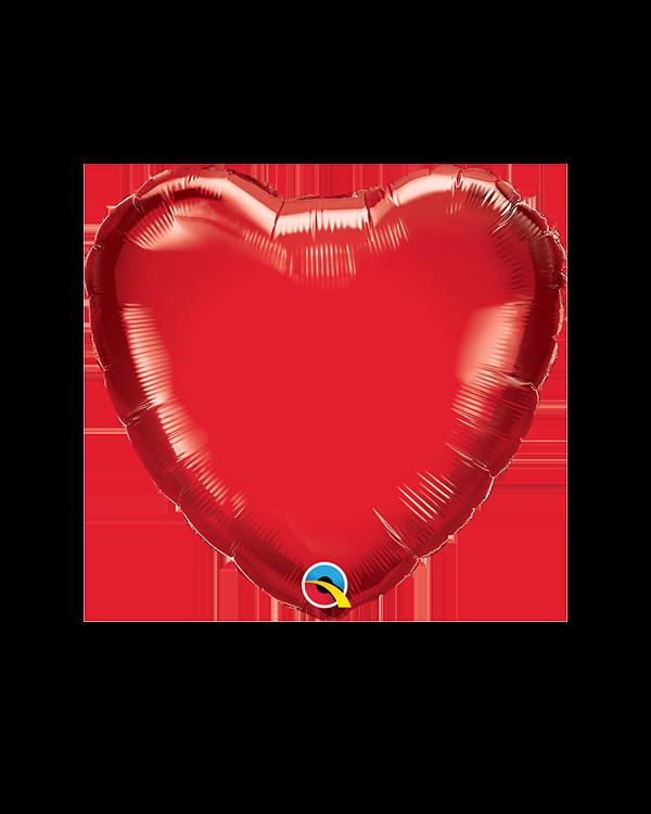 Folieballong: Hjerte - Ruby Red (Standard) -  36 x 33cm