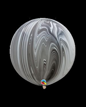 Lateksballonger (2stk): Marmorballonger - Svart & Hvit - 76cm