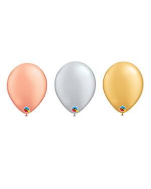 Lateksballonger (100stk): Metallic - 13cm