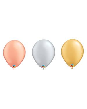 Lateksballonger (100stk): Metallic - 28cm
