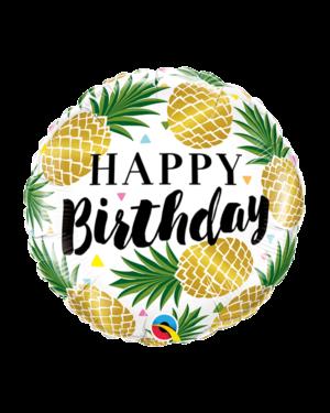 """Folieballong: """"Happy Birthday"""" - Ananas - 46cm"""