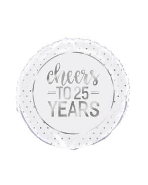 """Folieballong: """"cheers to 25 years"""" - Sølv - 46cm"""