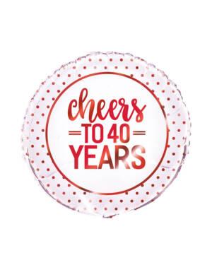 "Folieballong: ""cheers to 40 years"" - Rød - 46cm"