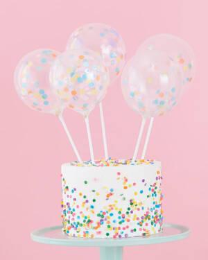 Kaketopper (5stk): Mini Ballonger  Pastel